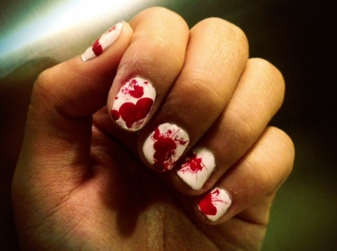 Dexter Inspired Halloween Nails Blood Splatter