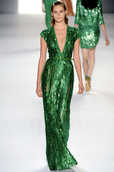 Elie Saab RTW Spring 2011 Green Sequin Gown