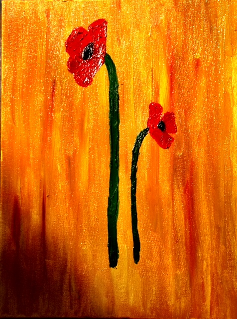 Red Poppies - Oil on canvas painting