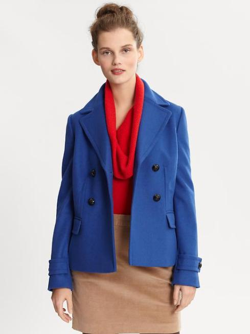 Banana Republic Blue Wook Peacoat