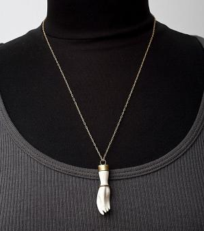 Ivory Hand Necklace Modeled