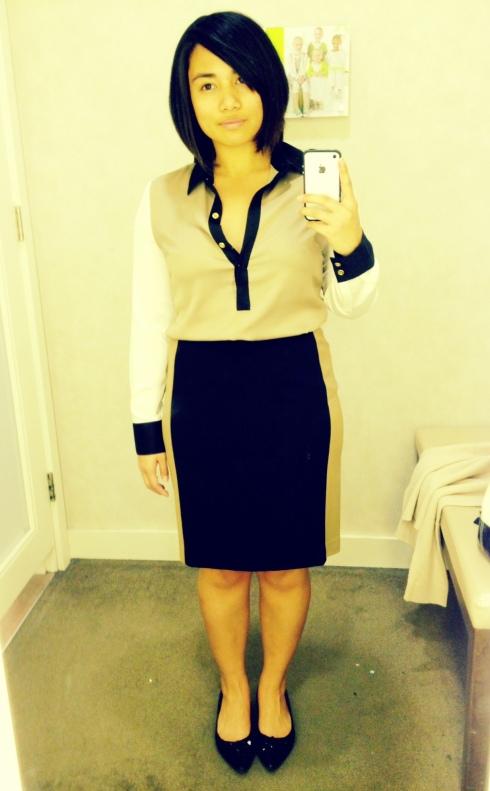 Ann Taylor Color Block Blouse & Skirt
