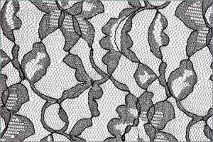 Black Lace Fabric Flower Pattern