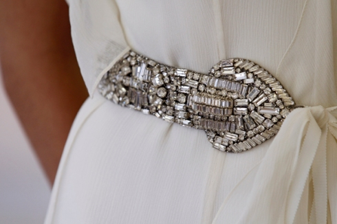 CAROLINA HERRERA BRIDAL FALL 2012 JEWELED BELT DETAIL