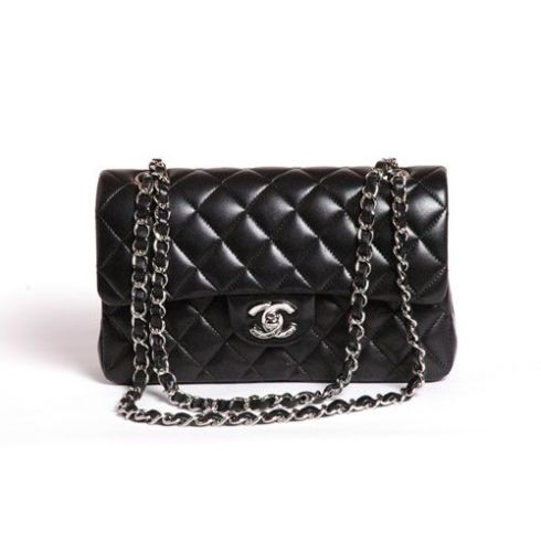 Chanel classic flap bag black lambskin