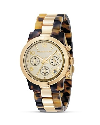 Michael Kors Chronograph Goldtone Mixed Metal Tortoise