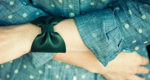 Gabriela Artigas Night Shade Leather Bow Cuff