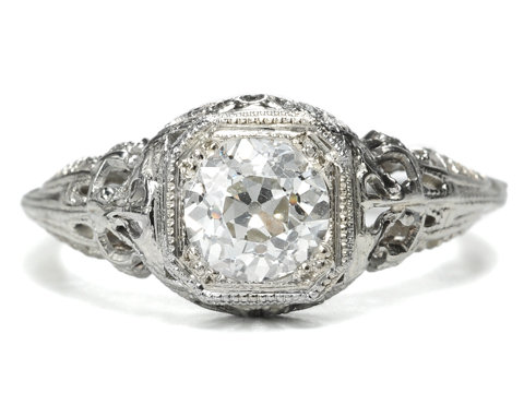 Georgian Jewelry Art Deco Solitaire Diamond Ring