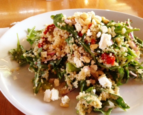 Arugula Quinoa Salad with Feta Pine Nuts and Cherry Tomatoes