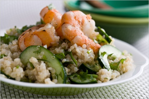 Quinoa Shrimp with Lime Ginger Dressing