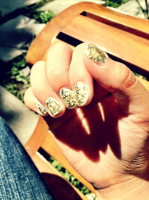 Gold Glitter Nails Full