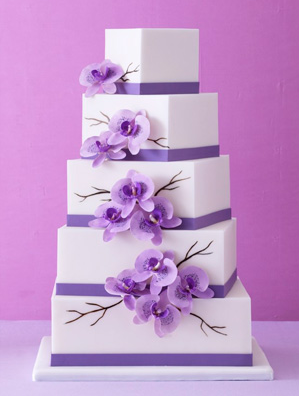 Purple Staggered Square Wedding Cakes