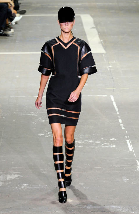 Alexander Wang Spring 2013 Black Cut Out Sleeve Dress
