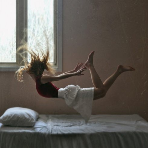falling on bed