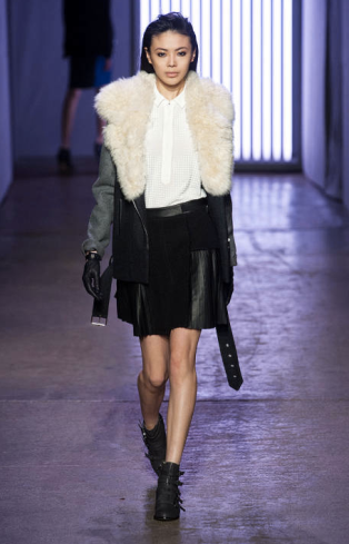 Rebecca Taylor New York Fashion Week 2013 - White Fur Leather Jacket