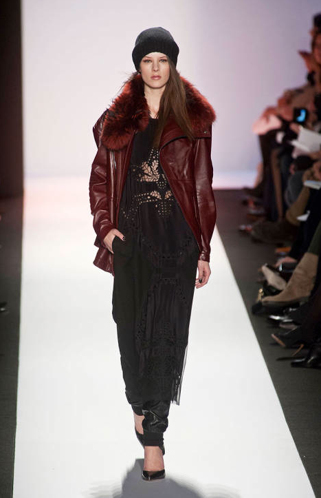 BCBG Max Azria New York Fashion Week 2013 - Red Fur Leather Jacket