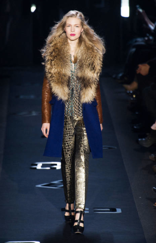 Diane Von Furstenberg New York Fashion Week 2013 - Blue Fur Coat