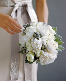 Wedding bouquet - white peonies