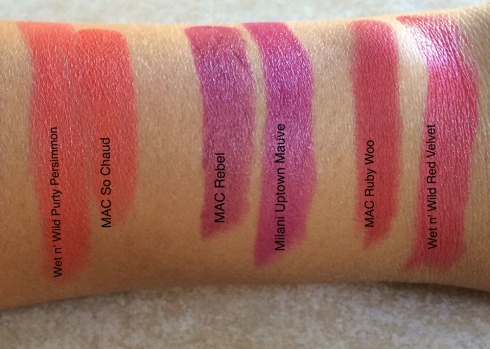 MAC Lipstick Dupes Mehr So Chaud Rebel Ruby Woo